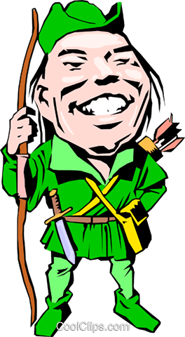 Cartoon Robin Hood Royalty Free Vector Clip Art illustration cart0757