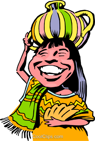 Cartoon native girl Royalty Free Vector Clip Art illustration cart0764