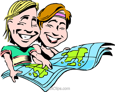 Cartoon couple on vacation Royalty Free Vector Clip Art illustration cart0766