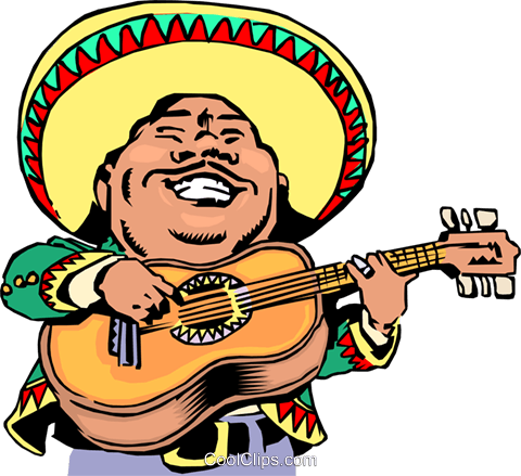 Cartoon Mexican musician Royalty Free Vector Clip Art illustration cart0769