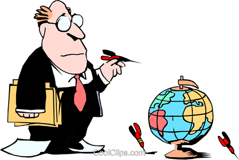 Cartoon executive with globe and darts Royalty Free Vector Clip Art illustration cart0773