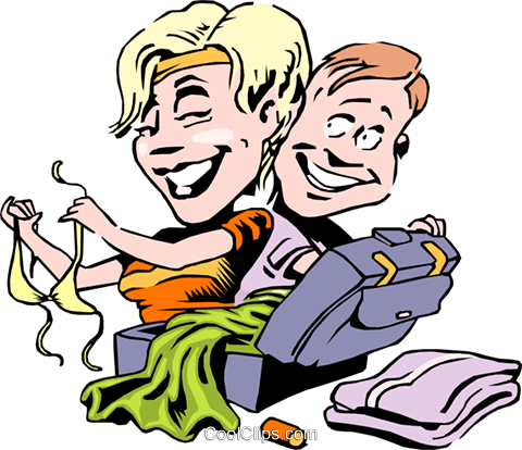 Cartoon couple on vacation Royalty Free Vector Clip Art illustration cart0774