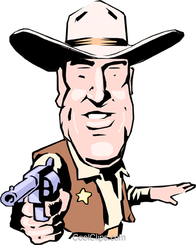 Cartoon sheriff Royalty Free Vector Clip Art illustration cart0785