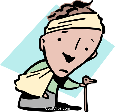 Man with broken arm, sore head and cane Royalty Free Vector Clip Art illustration cart0850