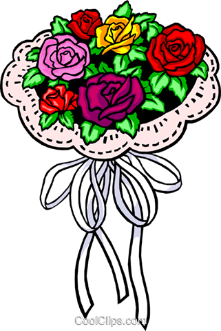 Bouquet of roses Royalty Free Vector Clip Art illustration even0286