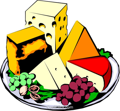 Cheese platter Royalty Free Vector Clip Art illustration food0183