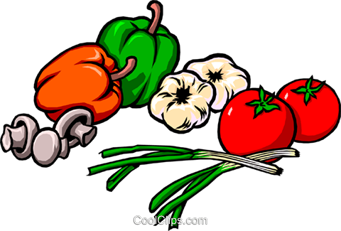 Peppers onions tomatoes garlic mushrooms Royalty Free Vector Clip Art illustration food0229