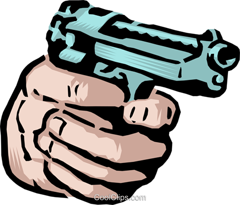 Mão segurando uma arma livre de direitos Vetores Clip Art ...