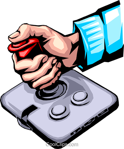 Hand with joystick Royalty Free Vector Clip Art illustration hand0160