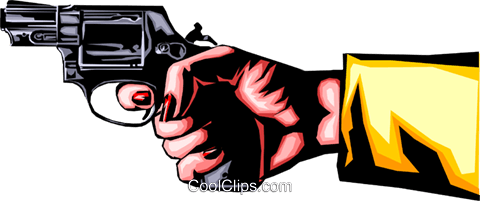Female hand holding gun Royalty Free Vector Clip Art illustration hand0161