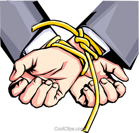 Hands tied with rope Royalty Free Vector Clip Art illustration hand0164