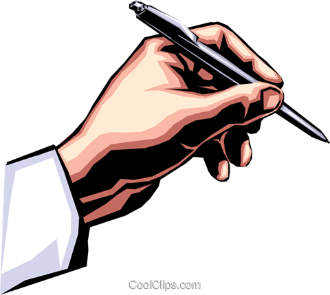 Hand writing with pen Royalty Free Vector Clip Art illustration hand0168
