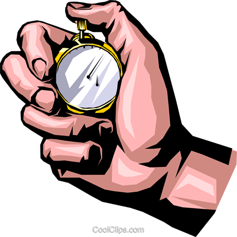 Hand with stopwatch Royalty Free Vector Clip Art illustration hand0169