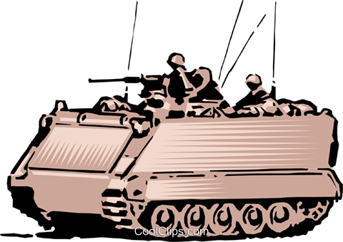 Army personnel in tank Royalty Free Vector Clip Art illustration mili0061