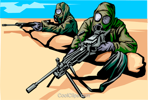 Soldiers in full chemical weapons dress Royalty Free Vector Clip Art illustration peop1258