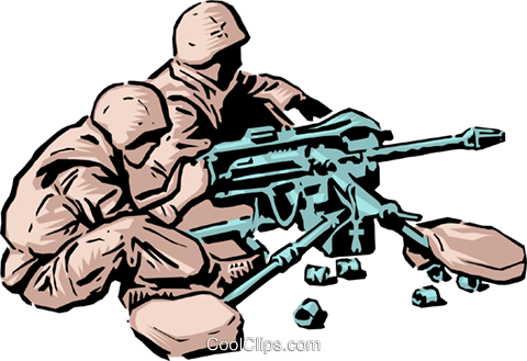 Soldiers with machine gum Royalty Free Vector Clip Art illustration peop1259