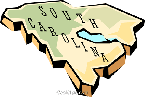 South Carolina state map Royalty Free Vector Clip Art illustration worl0587