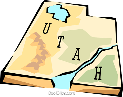 Utah state map Royalty Free Vector Clip Art illustration worl0591