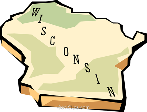 Wisconsin state map Royalty Free Vector Clip Art illustration worl0595