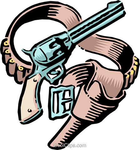 Old West Guns and holster Royalty Free Vector Clip Art illustration cart1051