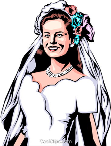 Bride in dress Royalty Free Vector Clip Art illustration even0287