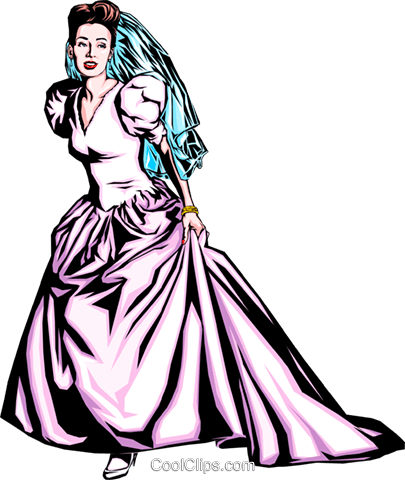 Woman in bride dress Royalty Free Vector Clip Art illustration even0288