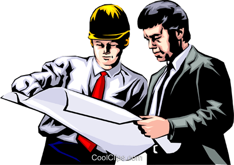 Men studying construction plans Royalty Free Vector Clip Art illustration peop0630