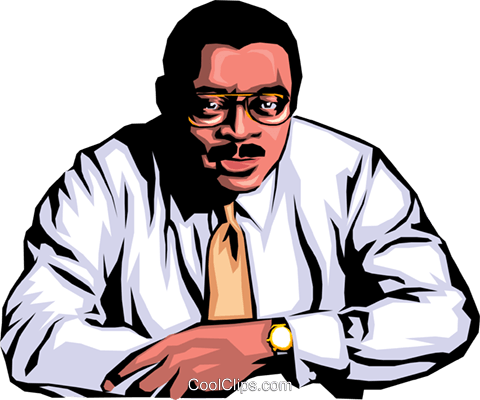 Black office worker Royalty Free Vector Clip Art illustration peop0632