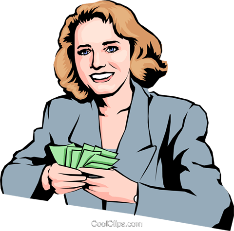 Woman with money Royalty Free Vector Clip Art illustration peop0636