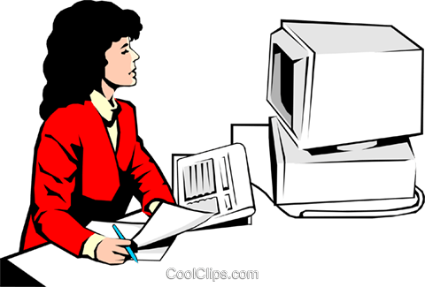 Woman at a computer Royalty Free Vector Clip Art illustration peop0639