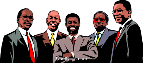 Group of black business men Royalty Free Vector Clip Art illustration peop0640