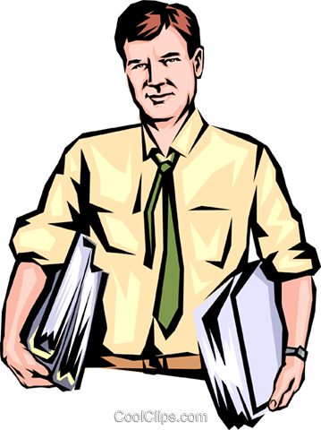 Man with armloads of work Royalty Free Vector Clip Art illustration peop0641