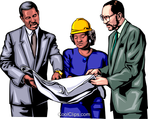 Three people discussing plans Royalty Free Vector Clip Art illustration peop0642