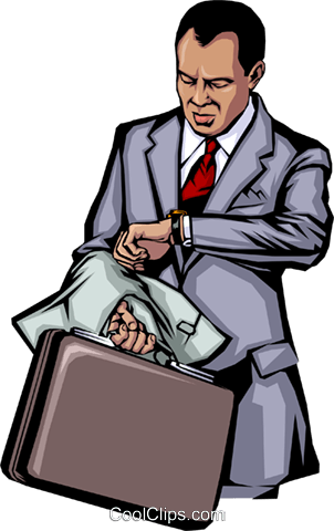 Man checking his watch Royalty Free Vector Clip Art illustration peop0647