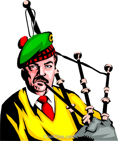 Man playing the bagpipes Royalty Free Vector Clip Art illustration peop0653