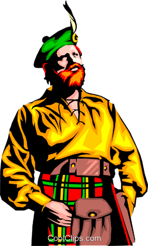 Scottish man Royalty Free Vector Clip Art illustration peop0658