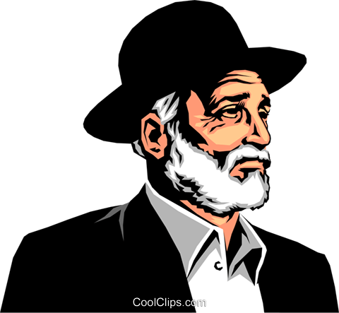Rabbi wearing hat Royalty Free Vector Clip Art illustration peop0660