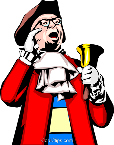 Town crier Royalty Free Vector Clip Art illustration peop0669