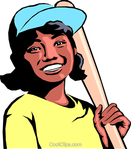 Girl playing baseball Royalty Free Vector Clip Art illustration peop0675