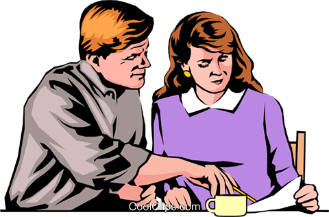 Man & woman looking at papers Royalty Free Vector Clip Art illustration peop0679
