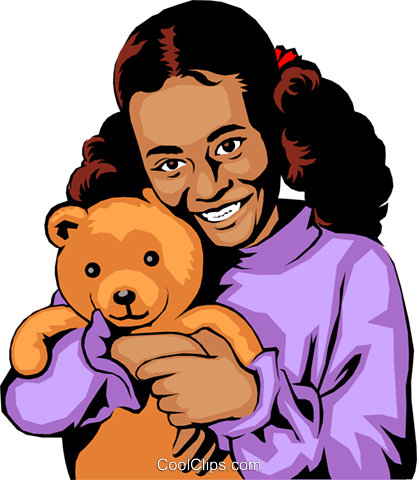Girl with teddy bear Royalty Free Vector Clip Art illustration peop0682