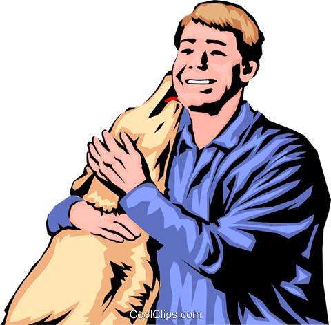 Dog licking man's face Royalty Free Vector Clip Art illustration peop0687