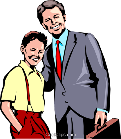 Father & son Royalty Free Vector Clip Art illustration peop0688
