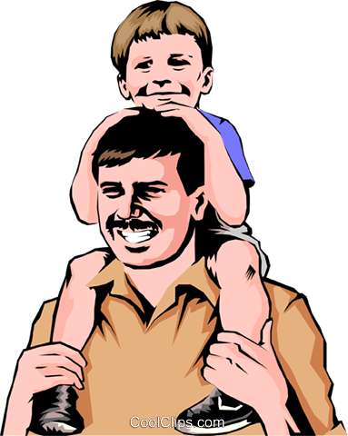 Father & son Royalty Free Vector Clip Art illustration peop0689