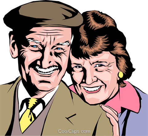 Older couple smiling Royalty Free Vector Clip Art illustration peop0695