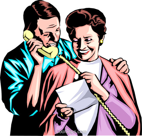 Man & woman with telephone Royalty Free Vector Clip Art illustration peop0696