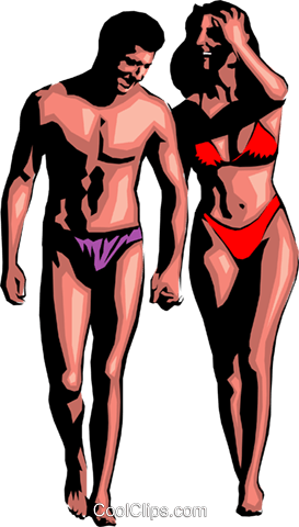Holiday couple in bathing suits Royalty Free Vector Clip Art illustration peop0697