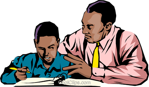 Black teacher & student Royalty Free Vector Clip Art illustration peop0699