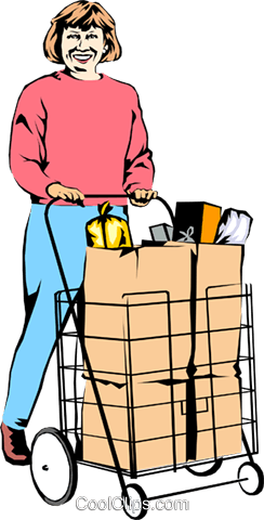 Woman with grocery cart Royalty Free Vector Clip Art illustration peop0701