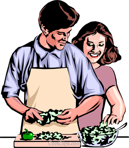 Man & woman preparing dinner Royalty Free Vector Clip Art illustration peop0706
